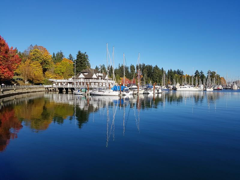 Beautiful des view on thé Parc Stanley Vancouver royalty free stock photography