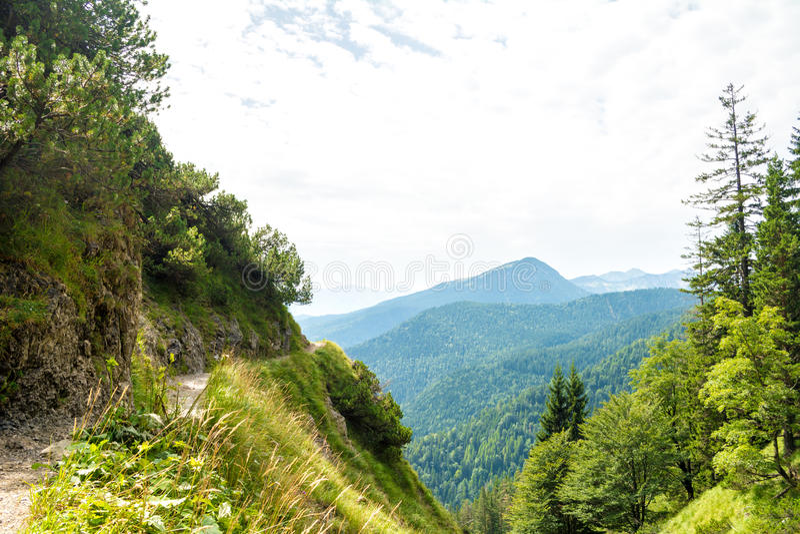 Belle vue sur un petit chemin de montagne de Herzogstand, des arbres et des montagnes voisines près de lac Walchensee, Bavière, A photo stock