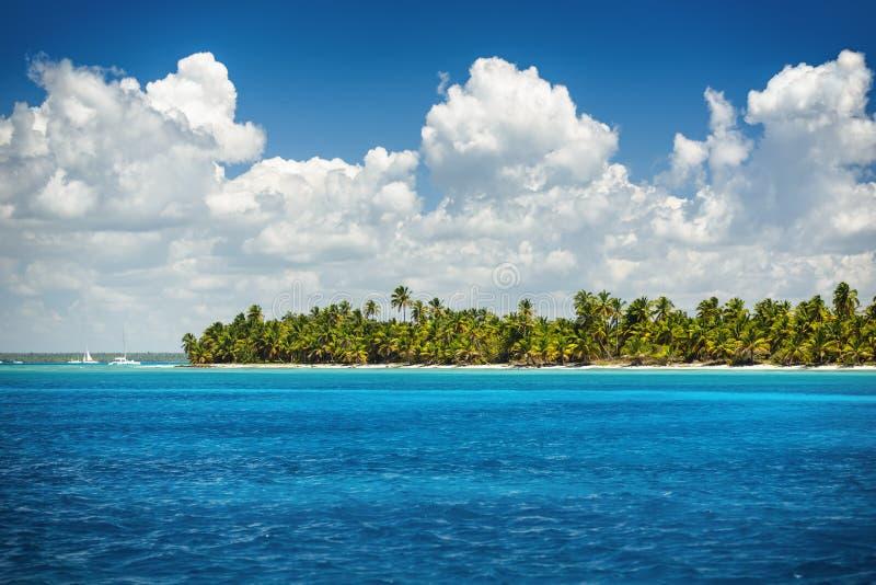 Belle vue vers la plage tropicale, île de Saona, Dominique photos stock