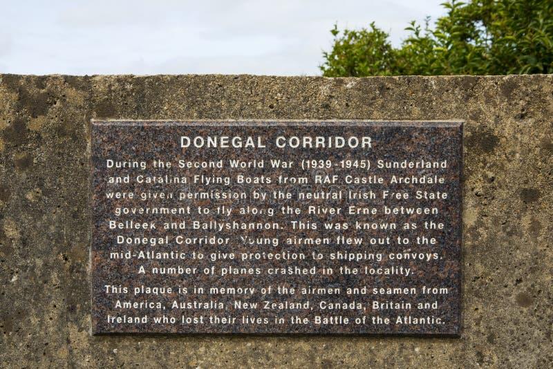 Donnegal Corridor Plaque in Ireland stock photography