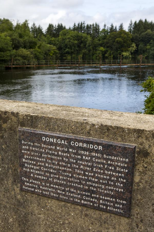 Donnegal Corridor Plaque on the River Erne in Ireland stock photography