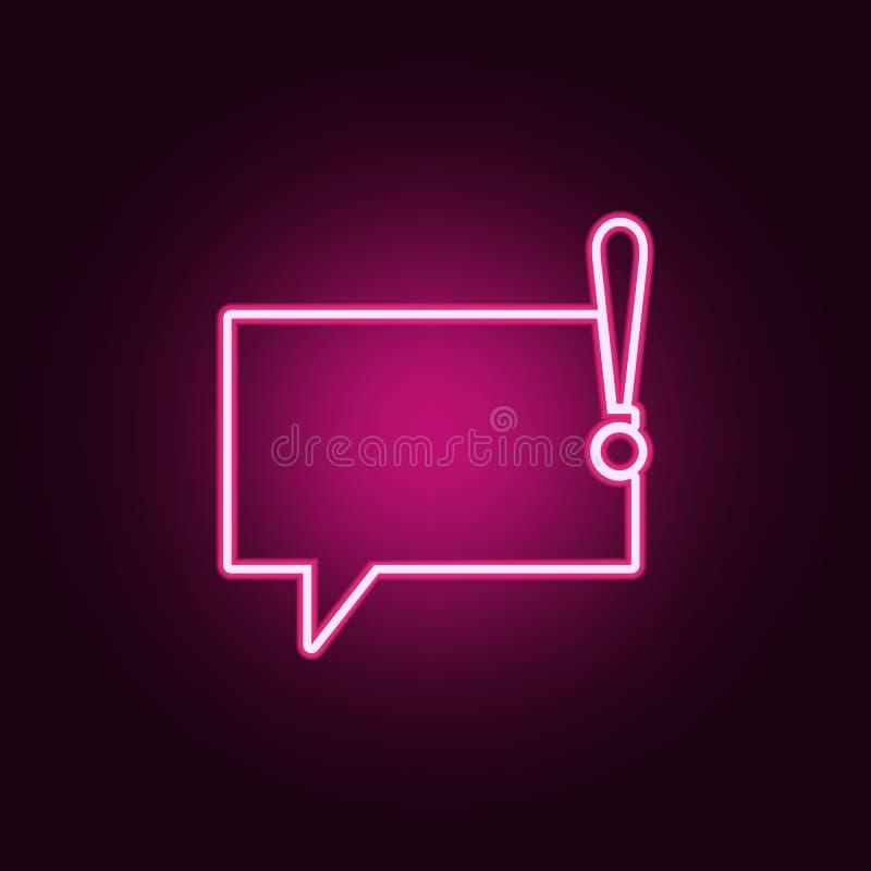 bellen van communicatie met een pictogram van het uitroepteken Elementen van Web in de pictogrammen van de neonstijl Eenvoudig pi stock illustratie