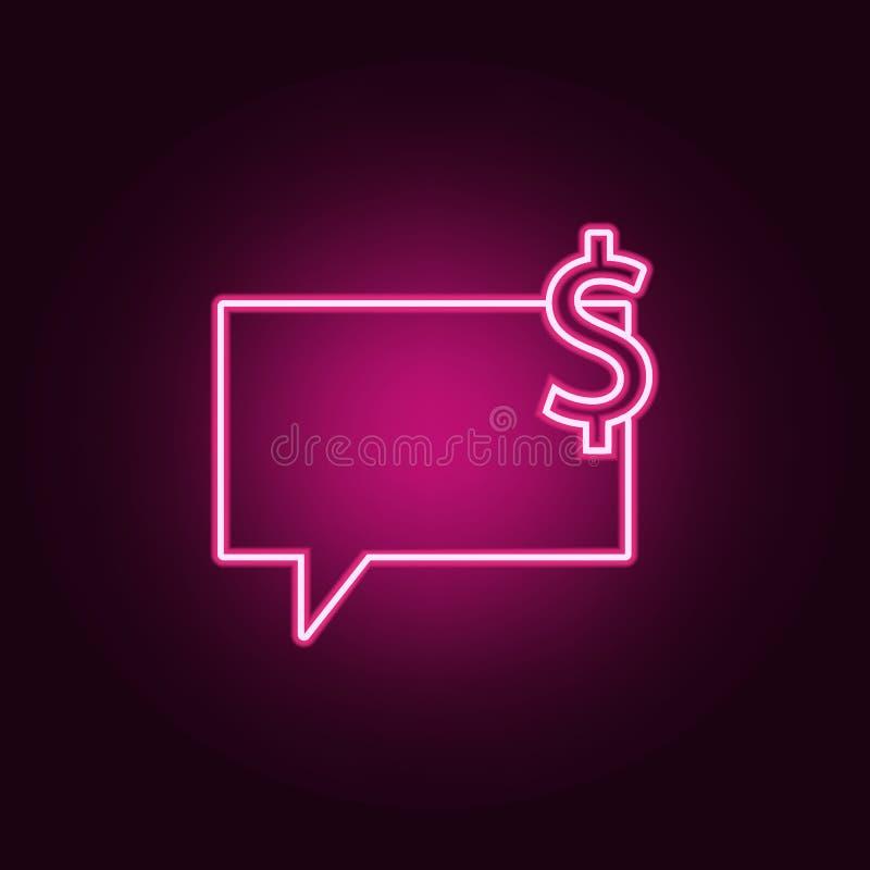 bellen van communicatie met het pictogram van het dollarteken Elementen van Web in de pictogrammen van de neonstijl Eenvoudig pic stock illustratie