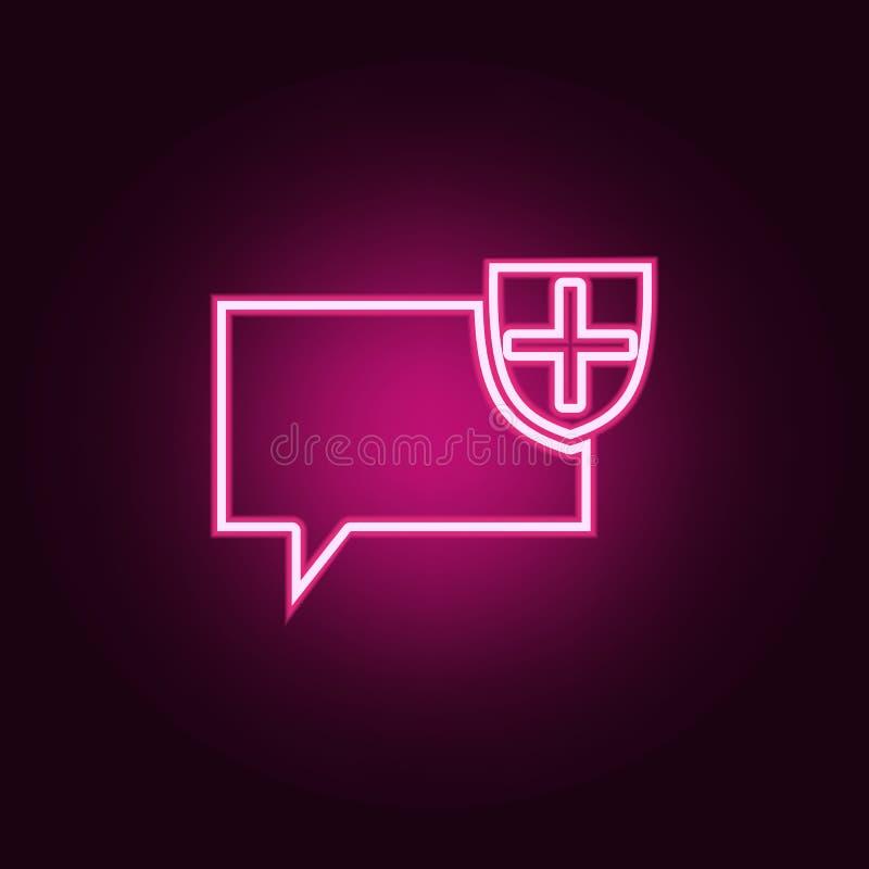 bellen van communicatie met het schildpictogram Elementen van Web in de pictogrammen van de neonstijl Eenvoudig pictogram voor we royalty-vrije illustratie