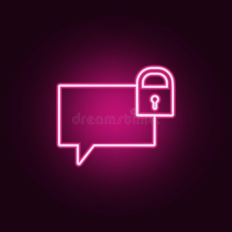 bellen van communicatie met het slotpictogram Elementen van Web in de pictogrammen van de neonstijl Eenvoudig pictogram voor webs royalty-vrije illustratie