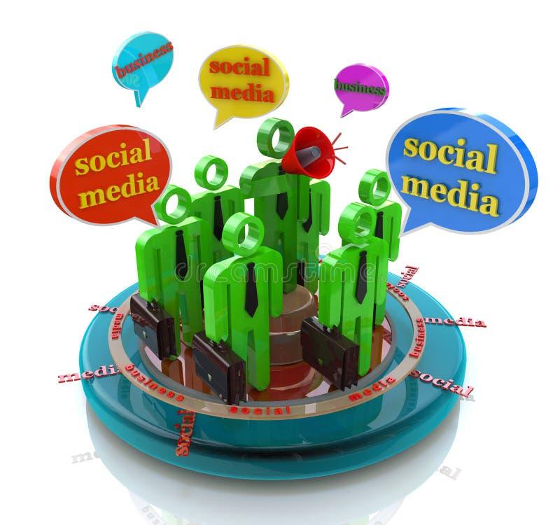 Bellen van de bedrijfs de sociale media netwerktoespraak vector illustratie