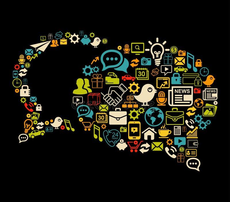 Bellenmededeling met sociale media pictogrammen wordt gemaakt dat stock illustratie