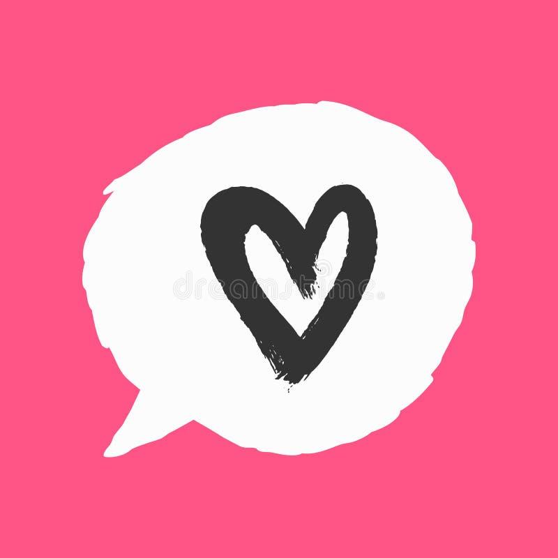 Bellentoespraak en overzicht van hart met ruwe borstel met de hand wordt getrokken die Grunge, watercolour, schets, graffiti, ver vector illustratie