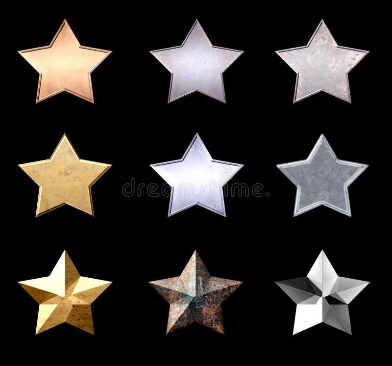 Belles étoiles en métal illustration libre de droits