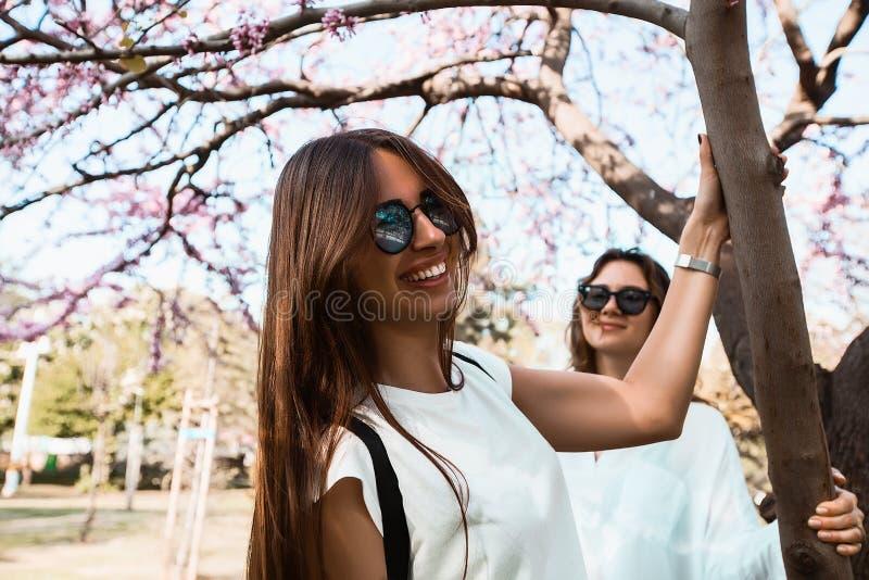 Belles amies heureuses se tenant sur un arrêt d'autobus image libre de droits