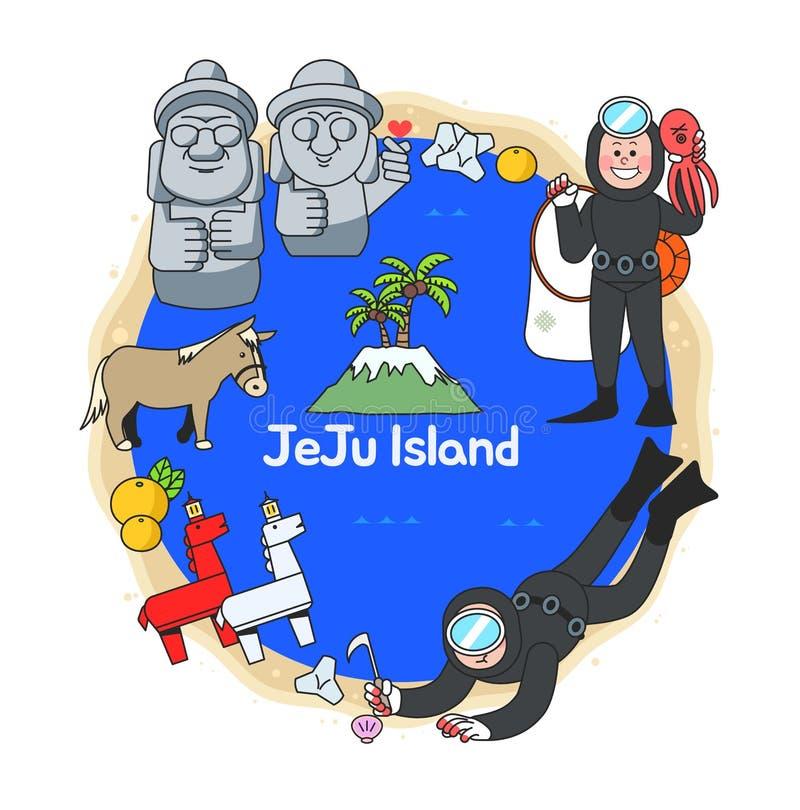 Belles attractions d'île de JeJu illustration libre de droits
