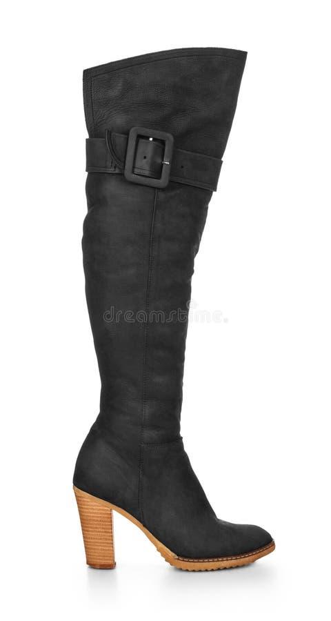 Belles bottes de pompe de plate-forme de talons hauts en cuir noir de luxe image libre de droits