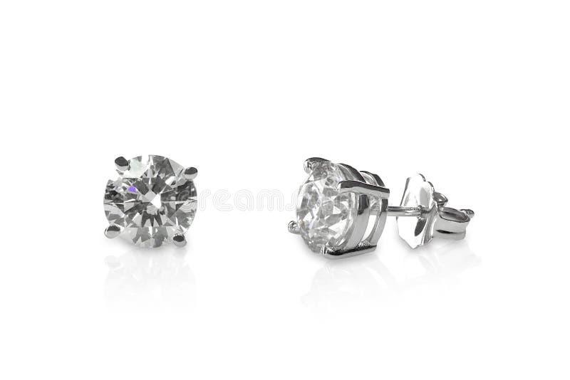 Belles boucles d'oreille de goujon de diamant photos libres de droits
