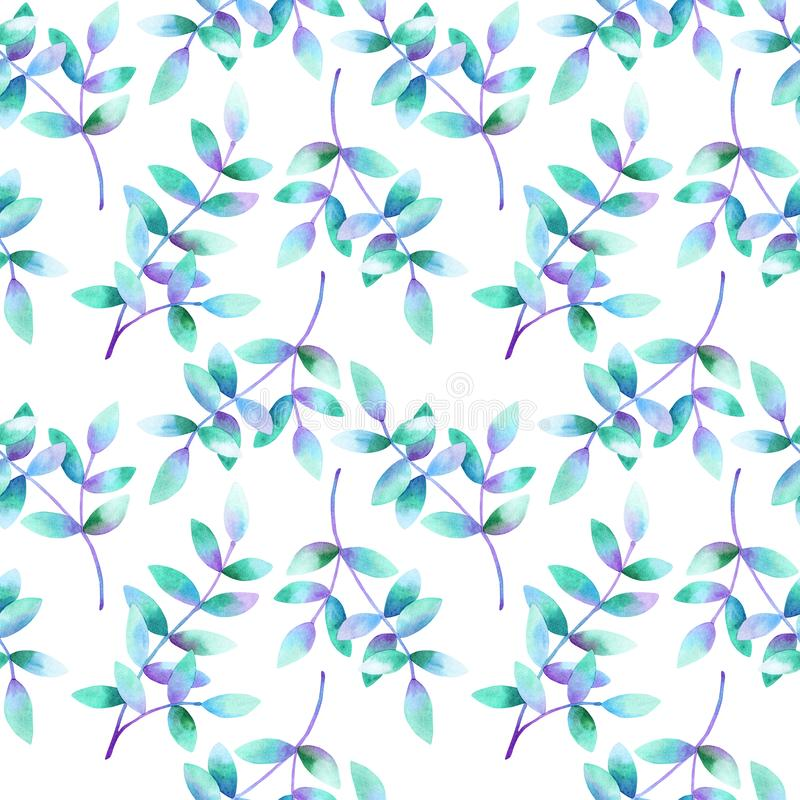 Belles branches avec les feuilles bleues pourpres vertes Configuration sans joint Illustration tir?e par la main d'aquarelle Text illustration stock