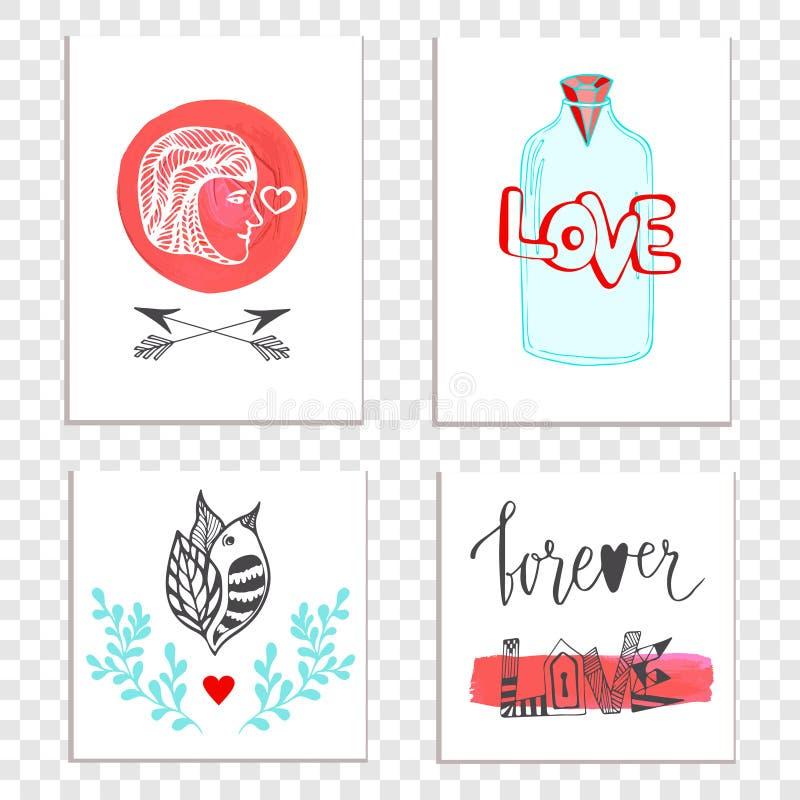 Belles cartes de jour de valentines avec le lettrage tiré par la main illustration libre de droits