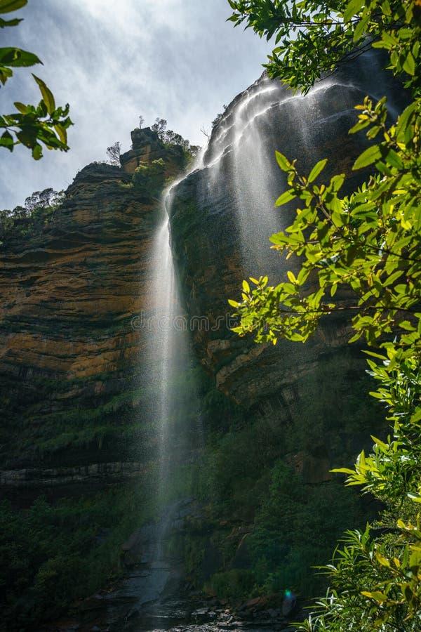 Belles cascades, chutes de Wentworth, montagnes bleues, australie 1 photo stock