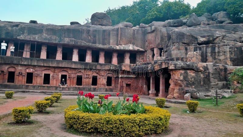 Belles cavernes d'Udaygiri de site d'héritage photos libres de droits