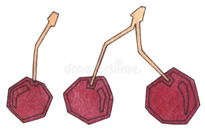 Belles cerises rouges sur le fond blanc Nutrition appropriée, vegan, végétarien, nourriture saine Cerise lumineuse juteuse fraîch illustration libre de droits