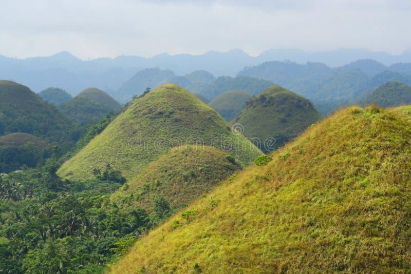 Belles collines de chocolat, Bohol, Philippines photos libres de droits
