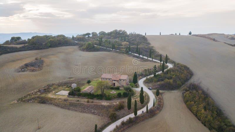 Belles collines de paysage aérien de nature image libre de droits