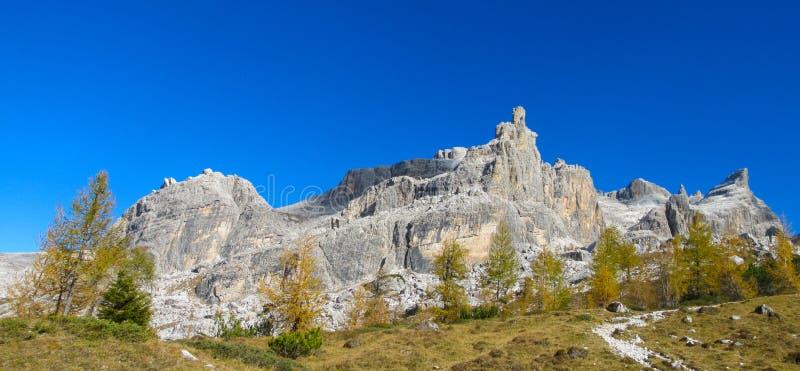 Belles couleurs jaunes d'automne en montagnes de Dolomiti di Brenta image stock