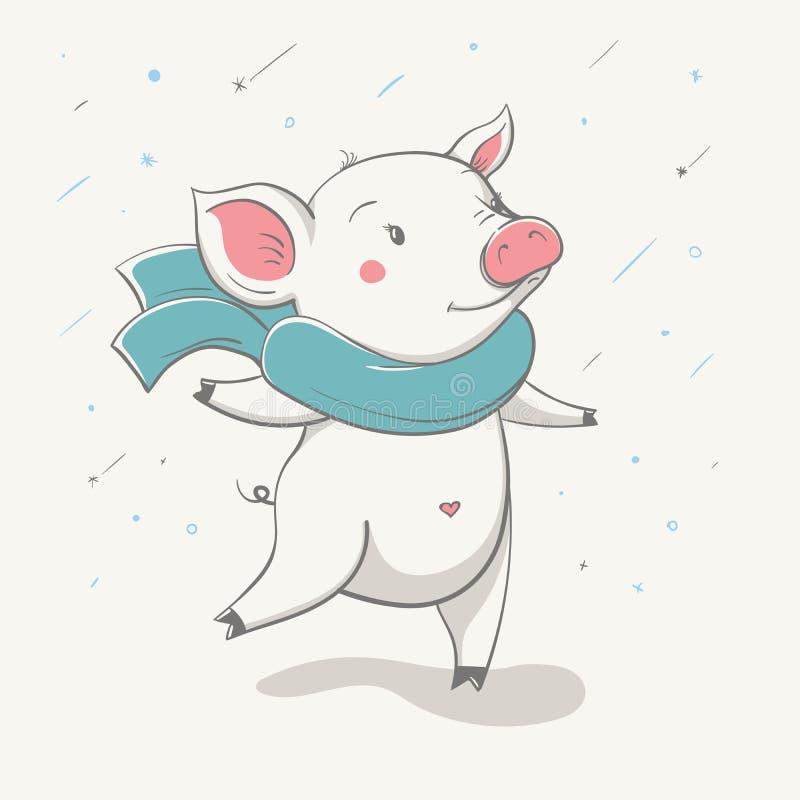 Belles courses porcines gaies mignonnes dans une écharpe Carte avec l'animal de bande dessinée illustration de vecteur