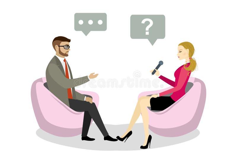 Belles entrevues caucasiennes de journaliste de femme un homme d'affaires illustration libre de droits