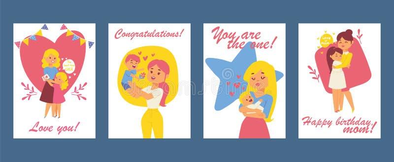 Belles femmes avec des enfants Jour de m?res heureux Carte de voeux de joyeux anniversaire illustration avec la maman et les enfa illustration stock