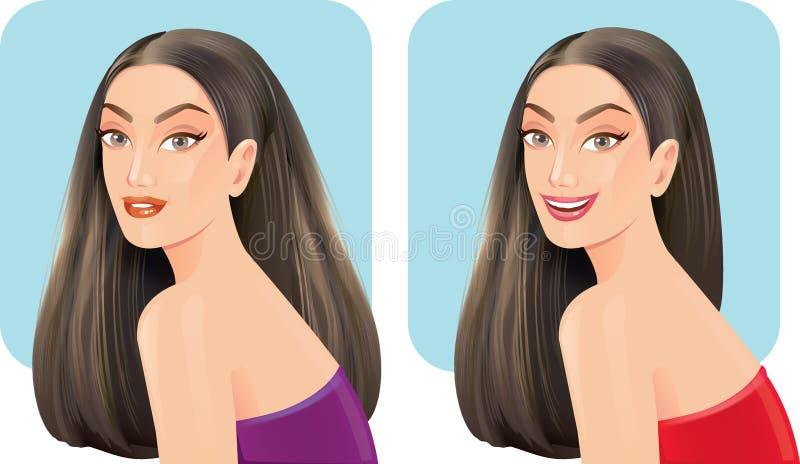 Belles femmes avec des styles de pilosité faciale photo libre de droits