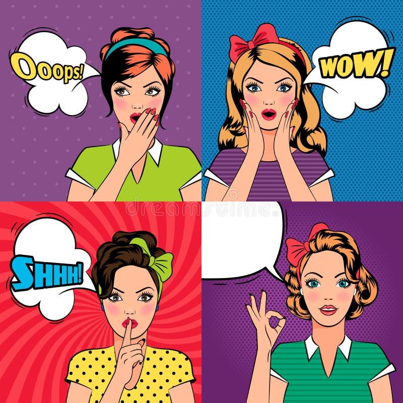 Belles femmes dans le style d'art de bruit illustration stock