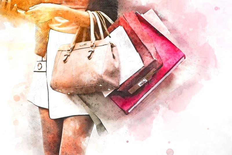 Belles femmes de l'Asie marchant des achats dans la ville illustration libre de droits