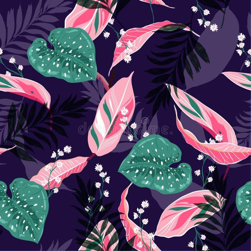 Belles feuilles tropicales foncées Conception graphique sans couture avec le copain illustration libre de droits