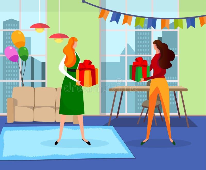 Belles filles avec des cadeaux dans des mains se tenant dans la chambre illustration de vecteur