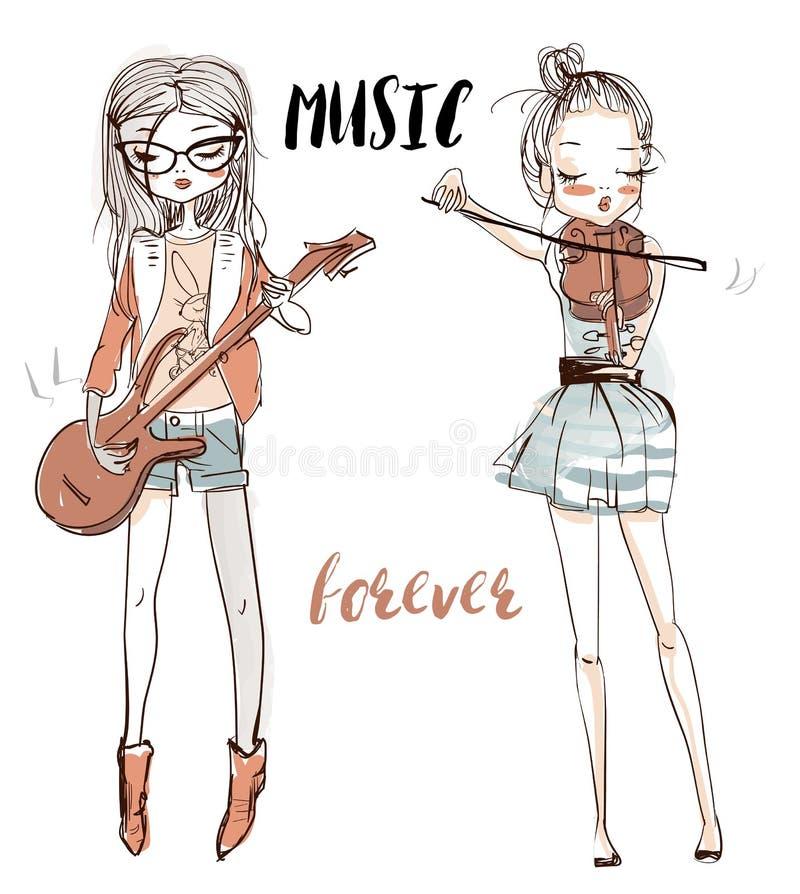 Belles filles avec les instruments de musique illustration stock