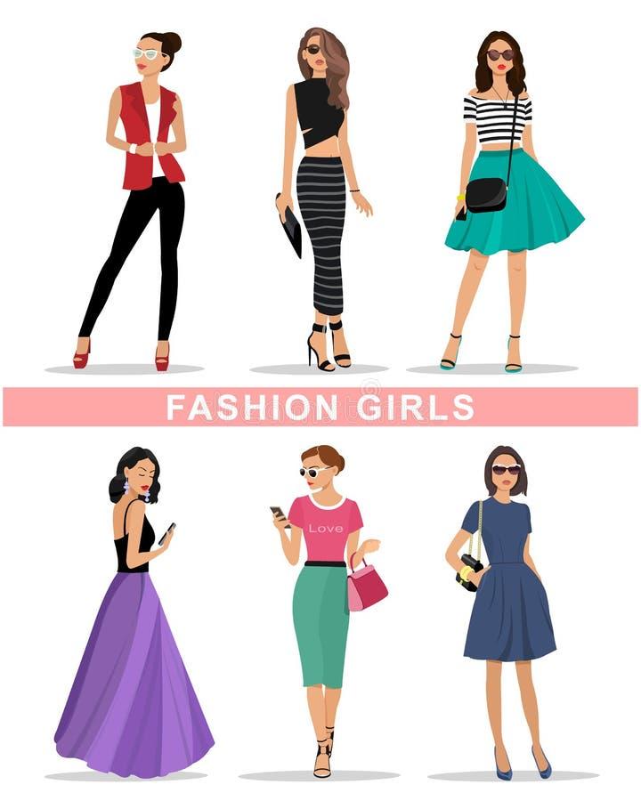 Belles filles de mode réglées Les vêtements des femmes de mode Illustration colorée de vecteur illustration de vecteur