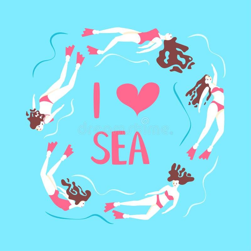 Belles filles nageant la mer sous l'eau illustration de vecteur