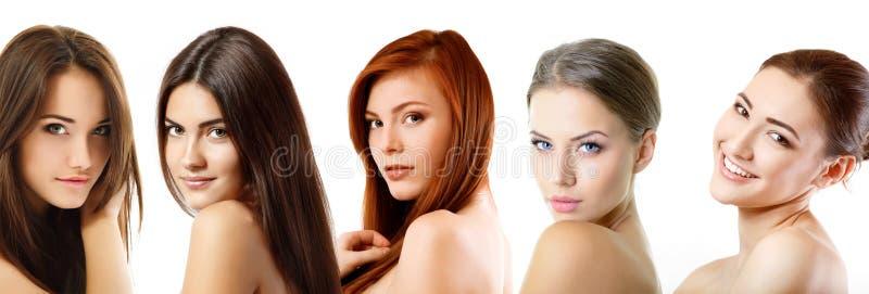 Belles filles, plan rapproché de visages au-dessus de blanc photo stock