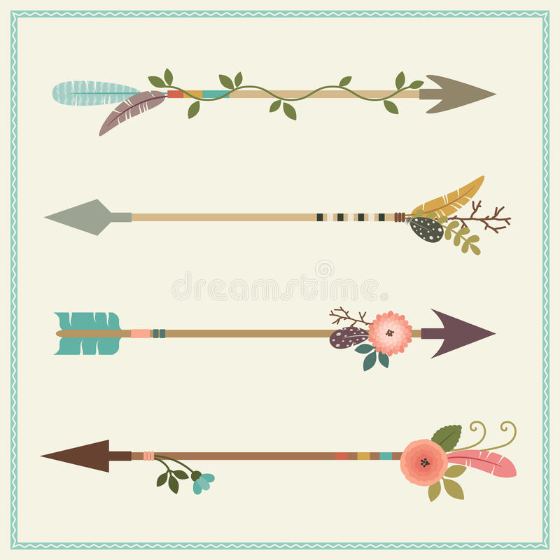Belles flèches de natif américain, plumes et décoration florale illustration libre de droits