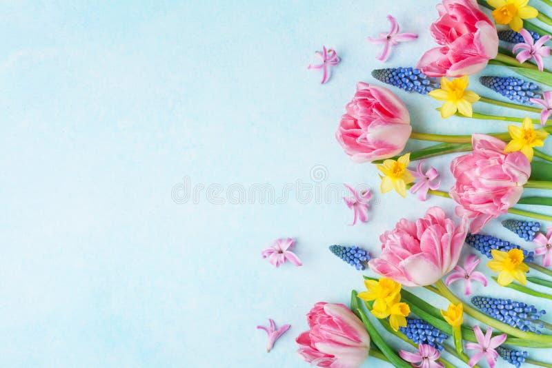 Belles fleurs colorées de ressort sur la vue supérieure en pastel de table Carte de voeux pour le jour international de femmes Co photos stock