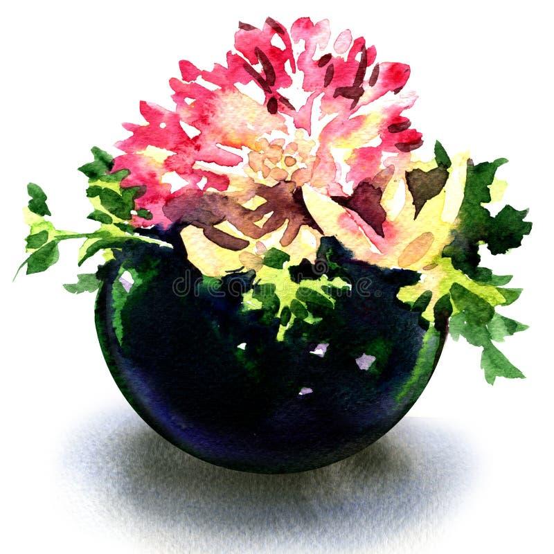Belles fleurs dans le vase bleu rond d'isolement, illustration d'aquarelle sur le blanc illustration stock