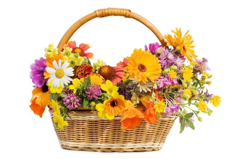 Belles fleurs dans un panier images stock