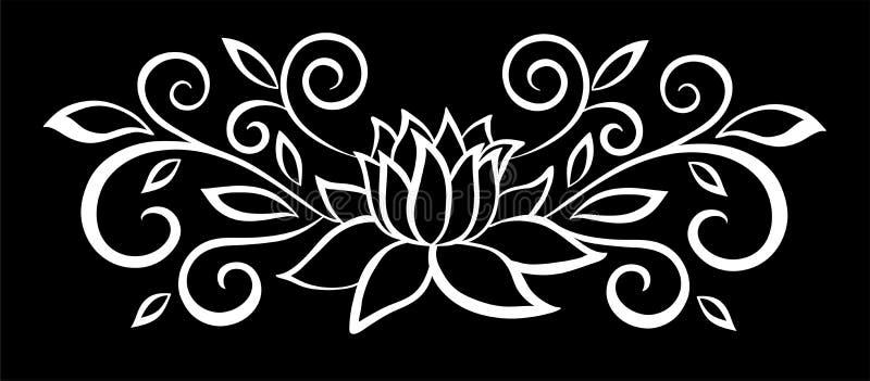 Belles fleurs et feuilles noires et blanches monochromes d'isolement illustration de vecteur