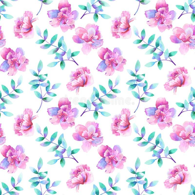 Belles fleurs roses pourpres et branches pourpres vertes Configuration sans joint florale Illustration tir?e par la main d'aquare illustration de vecteur