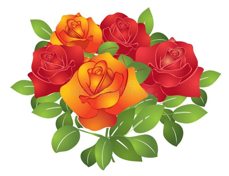 Belles fleurs rouges et oranges - roses illustration de vecteur