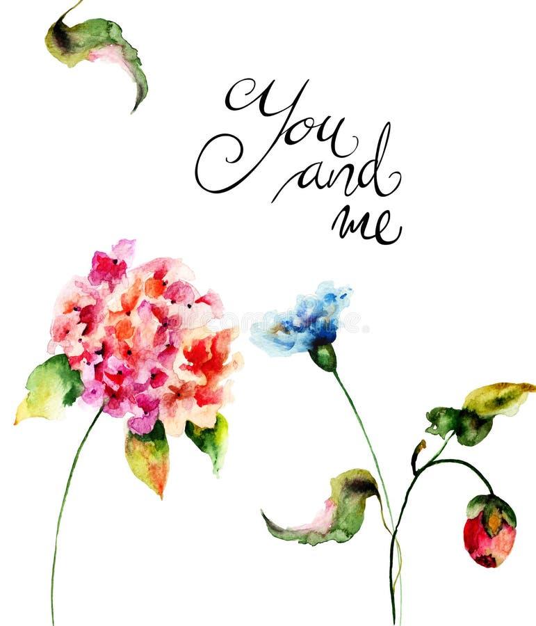 Belles fleurs sauvages avec le titre vous et moi illustration de vecteur