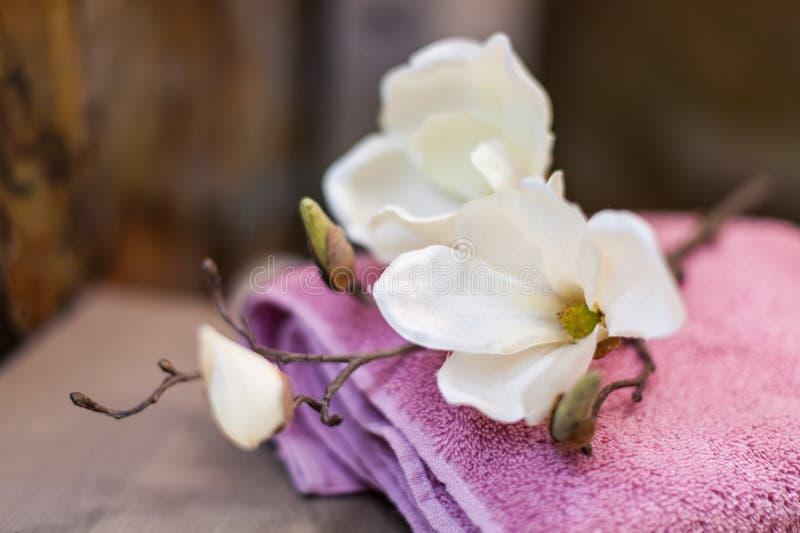 Belles fleurs sur des serviettes dans la salle de bains image stock