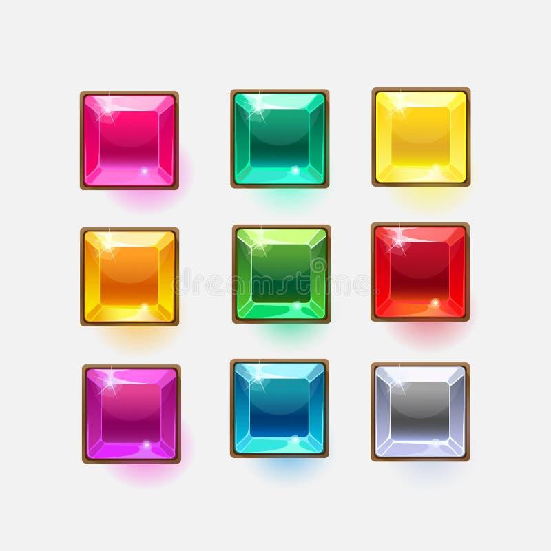Belles formes carrées en cristal brillantes pour le Web ou le concepteur du jeu illustration stock