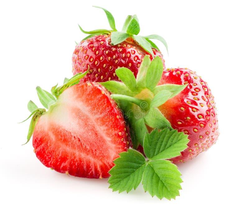 Belles fraises d'isolement sur le blanc photos stock