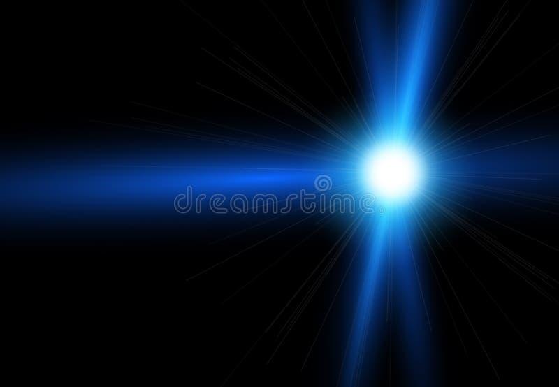 Belles fusées lumineuses de lentille Effets de la lumière d'éclair Étoile avec l'effet de fusée et de bokeh de lentille illustration libre de droits