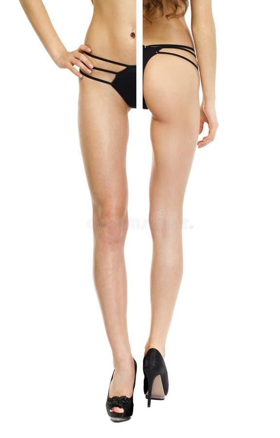Belles jambes femelles dans des talons hauts d'isolement sur le fond blanc photographie stock libre de droits